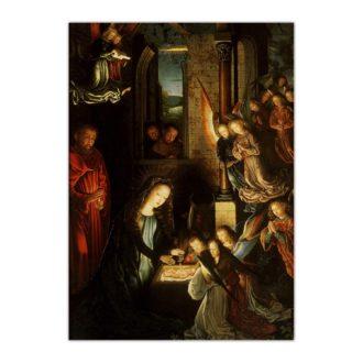 Kartka bożonarodzeniowa – Gerard David, Narodzenie, ok. 1495