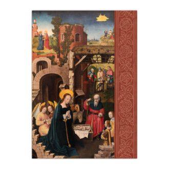Kartka bożonarodzeniowa – Mistrz monogramu AH, Narodzenie, ok. 1500